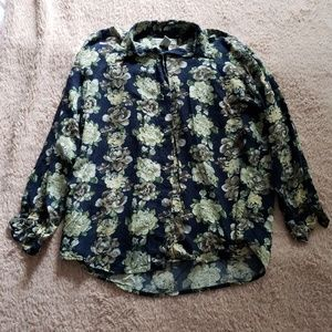 Women's Navy and yellow floral vintage button up